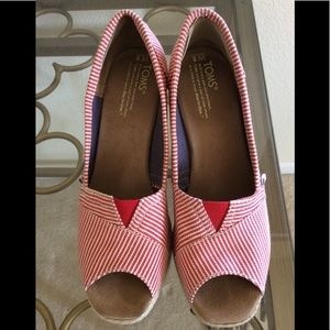 Toms red and white striped espadrille 8W